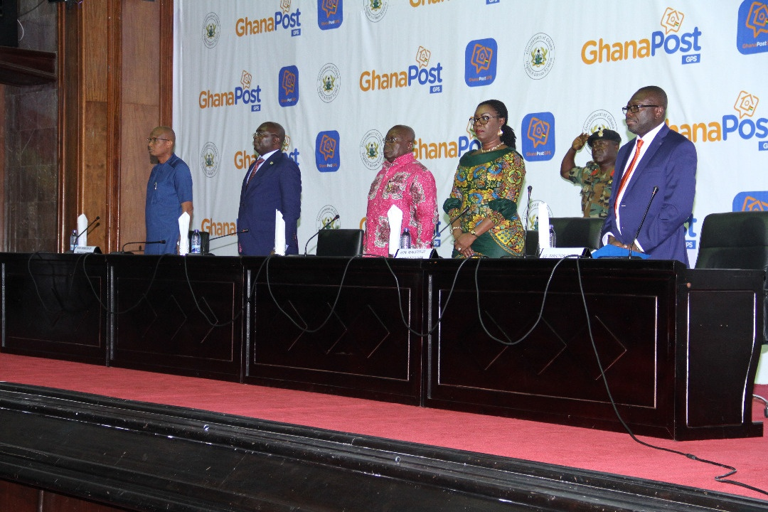 H. E. Nana Addo Dankwa Akuffo Addo and Vice President on the dais with Hon. Minister of Communications, MD of Ghana Post and Hon. Mustapha Hamid at the far left